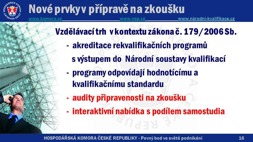 HOSPODÁŘSKÁ KOMORA ČESKÉ REPUBLIKY - Pevný bod ve světě podnikání Nové prvky v přípravě na zkoušku www.komora.cz www.nsp.cz www.národní-kvalifikace.cz www.komora.czwww.nsp.cz Vzdělávací trh v kontextu zákona č.