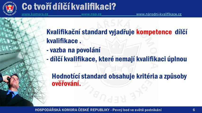 HOSPODÁŘSKÁ KOMORA ČESKÉ REPUBLIKY - Pevný bod ve světě podnikání Kvalifikační standard vyjadřuje kompetence dílčí kvalifikace.