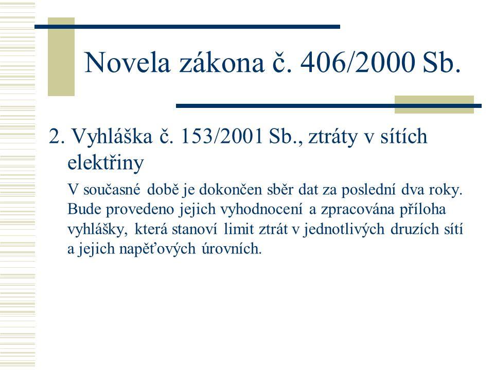Novela zákona č. 406/2000 Sb. 2. Vyhláška č. 153/2001 Sb., ztráty v sítích elektřiny V současné době je dokončen sběr dat za poslední dva roky. Bude p