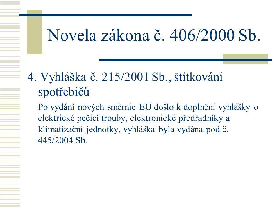 Novela zákona č. 406/2000 Sb. 4. Vyhláška č. 215/2001 Sb., štítkování spotřebičů Po vydání nových směrnic EU došlo k doplnění vyhlášky o elektrické pe