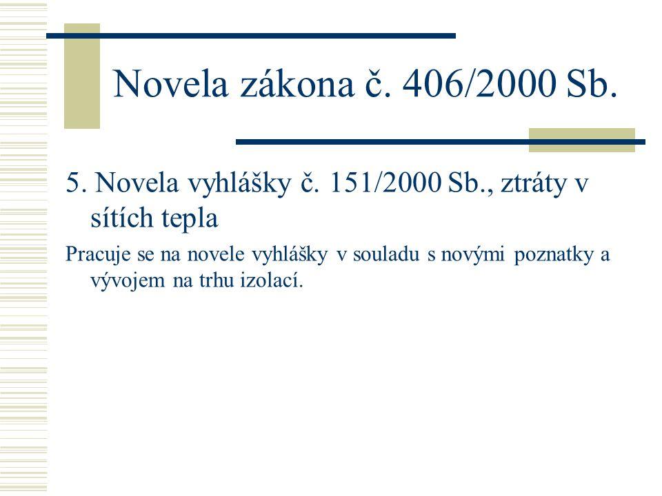 Novela zákona č. 406/2000 Sb. 5. Novela vyhlášky č. 151/2000 Sb., ztráty v sítích tepla Pracuje se na novele vyhlášky v souladu s novými poznatky a vý