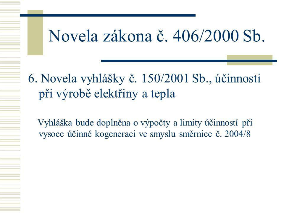 Novela zákona č. 406/2000 Sb. 6. Novela vyhlášky č. 150/2001 Sb., účinnosti při výrobě elektřiny a tepla Vyhláška bude doplněna o výpočty a limity úči