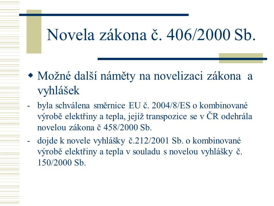 Novela zákona č. 406/2000 Sb.  Možné další náměty na novelizaci zákona a vyhlášek -byla schválena směrnice EU č. 2004/8/ES o kombinované výrobě elekt