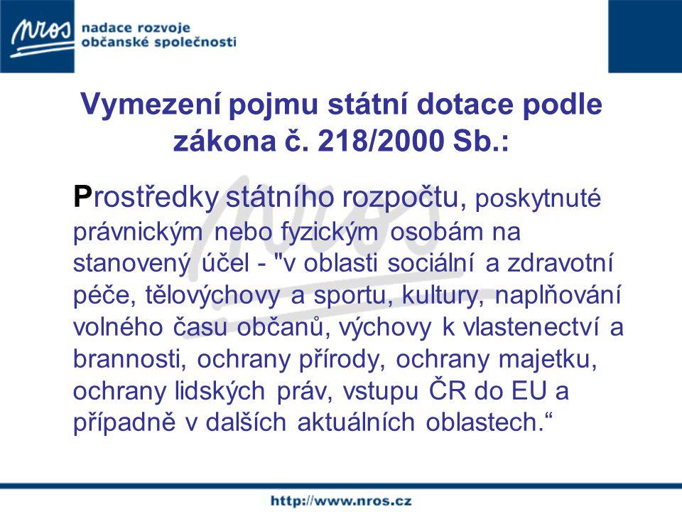 Vymezení pojmu státní dotace podle zákona č.