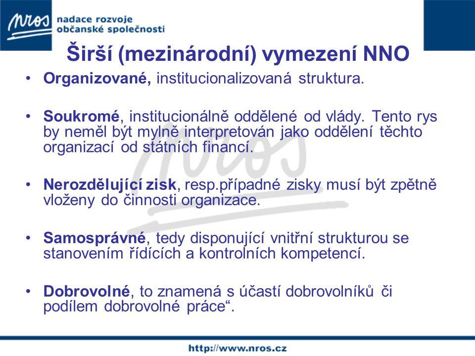 Širší (mezinárodní) vymezení NNO Organizované, institucionalizovaná struktura.