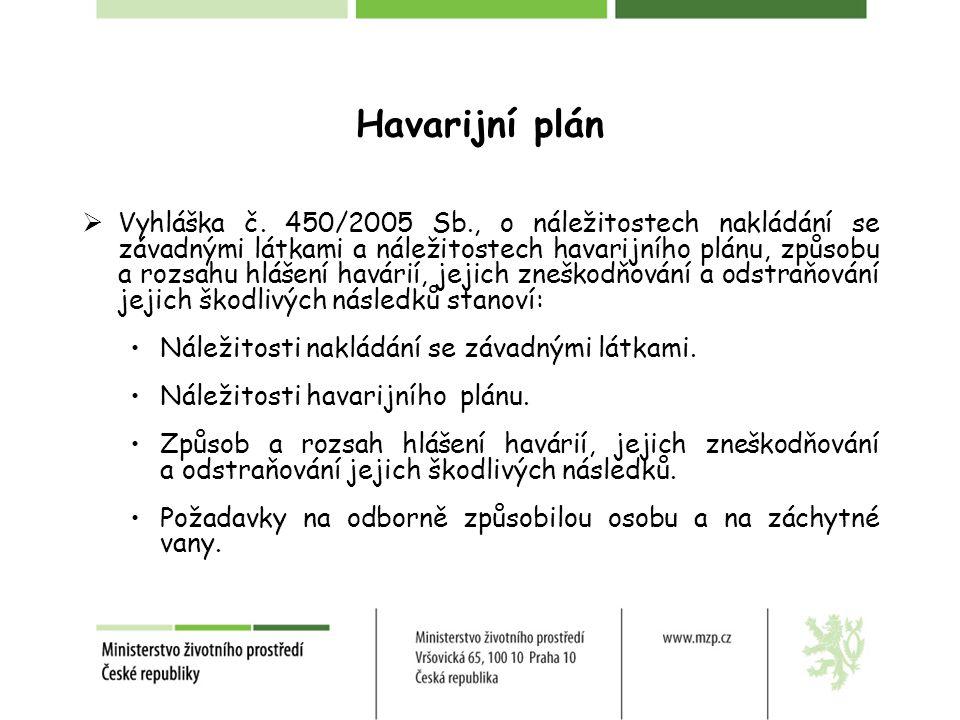 Havarijní plán  Vyhláška č. 450/2005 Sb., o náležitostech nakládání se závadnými látkami a náležitostech havarijního plánu, způsobu a rozsahu hlášení