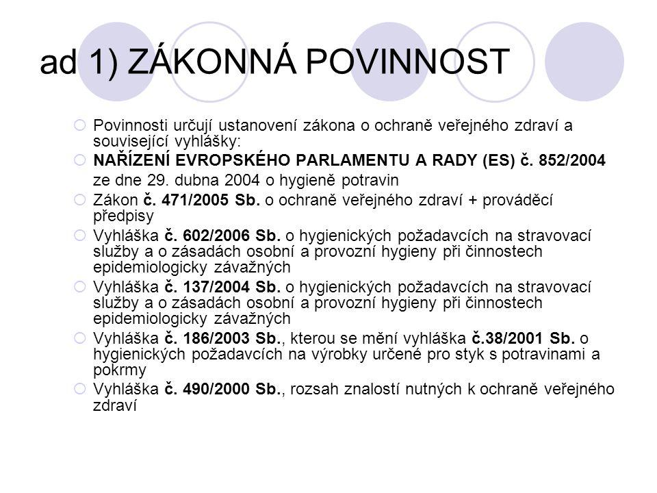 ad 1) ZÁKONNÁ POVINNOST  Povinnosti určují ustanovení zákona o ochraně veřejného zdraví a související vyhlášky:  NAŘÍZENÍ EVROPSKÉHO PARLAMENTU A RA