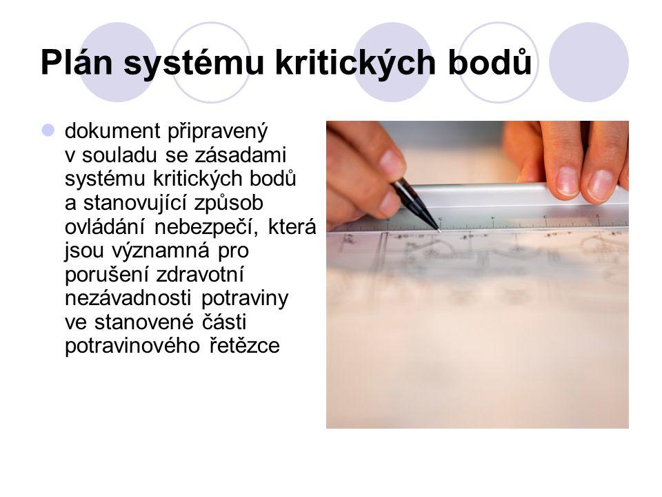 Plán systému kritických bodů dokument připravený v souladu se zásadami systému kritických bodů a stanovující způsob ovládání nebezpečí, která jsou výz