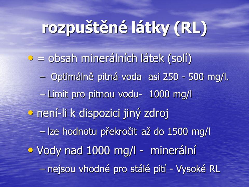 rozpuštěné látky (RL) = obsah minerálních látek (solí) = obsah minerálních látek (solí) – Optimálně pitná voda asi 250 - 500 mg/l. –Limit pro pitnou v