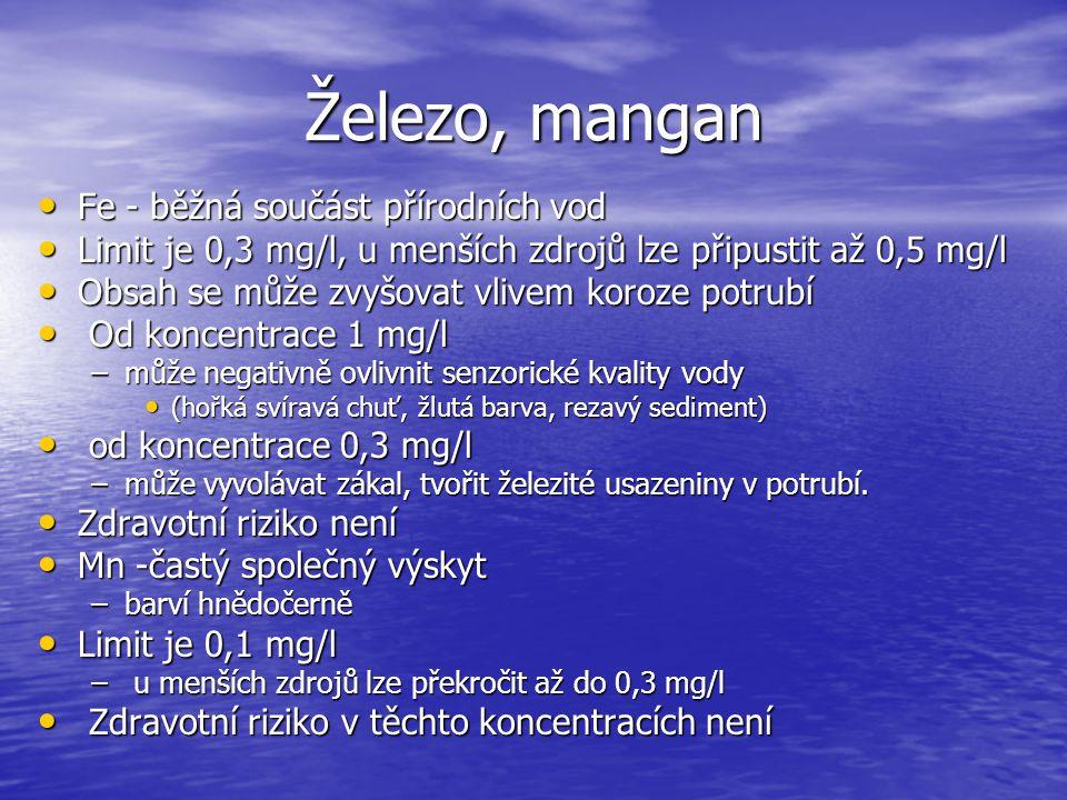 Železo, mangan Fe - běžná součást přírodních vod Fe - běžná součást přírodních vod Limit je 0,3 mg/l, u menších zdrojů lze připustit až 0,5 mg/l Limit
