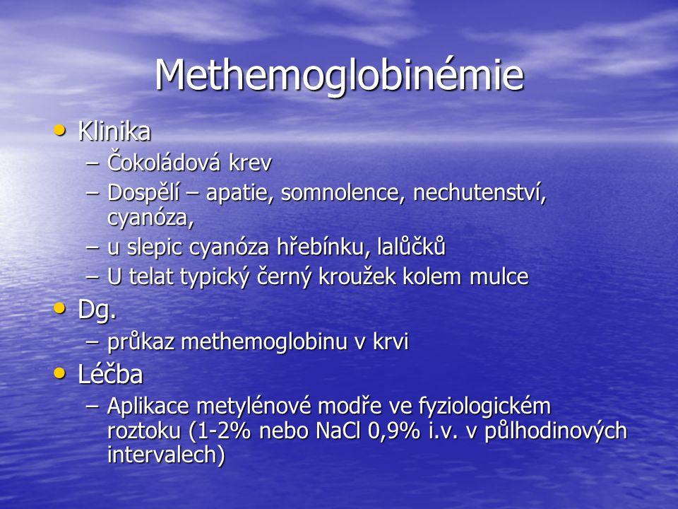 Methemoglobinémie Klinika Klinika –Čokoládová krev –Dospělí – apatie, somnolence, nechutenství, cyanóza, –u slepic cyanóza hřebínku, lalůčků –U telat