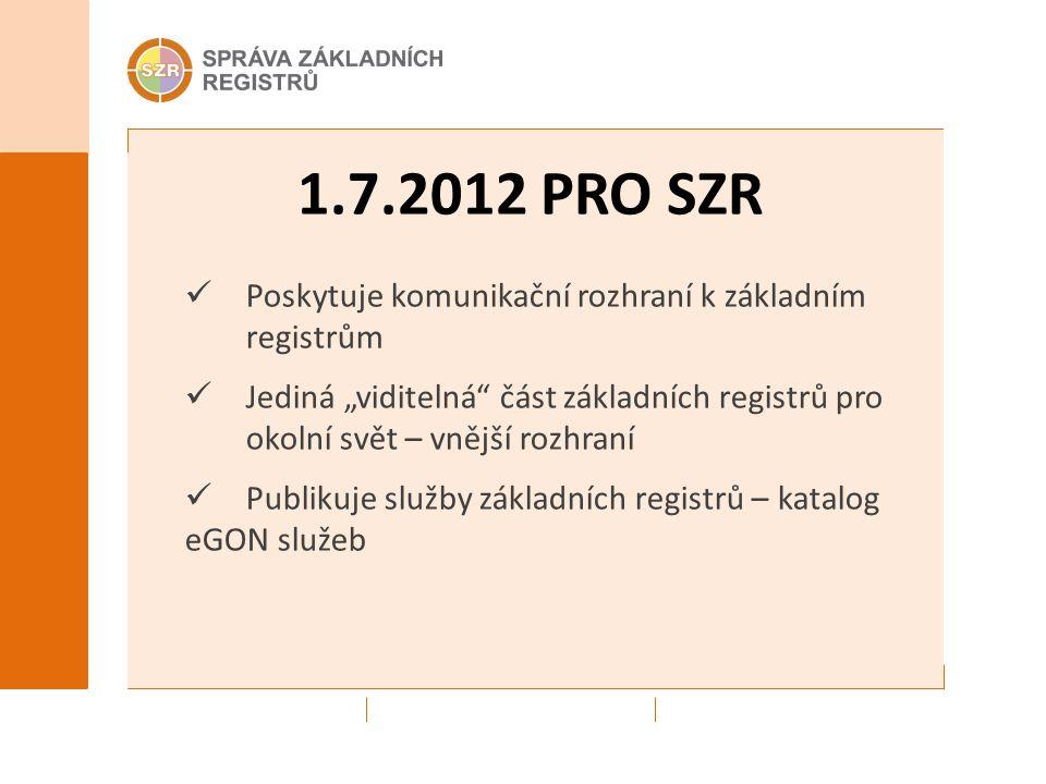 """1.7.2012 PRO SZR Poskytuje komunikační rozhraní k základním registrům Jediná """"viditelná část základních registrů pro okolní svět – vnější rozhraní Publikuje služby základních registrů – katalog eGON služeb"""