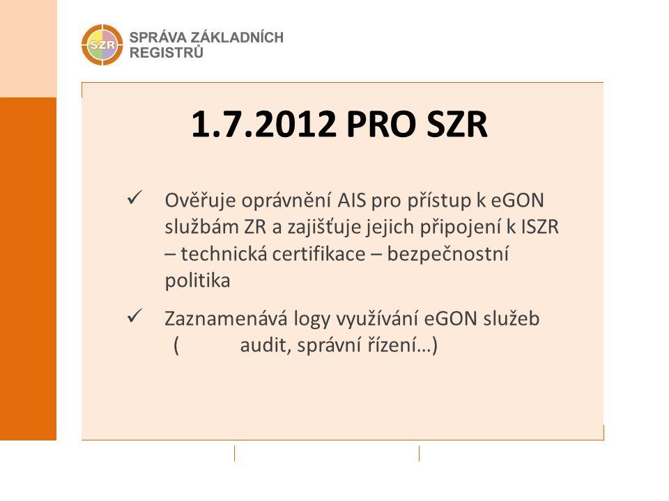 1.7.2012 PRO SZR Ověřuje oprávnění AIS pro přístup k eGON službám ZR a zajišťuje jejich připojení k ISZR – technická certifikace – bezpečnostní politika Zaznamenává logy využívání eGON služeb (audit, správní řízení…)