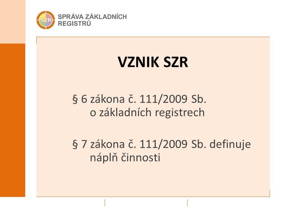VZNIK SZR § 6 zákona č. 111/2009 Sb. o základních registrech § 7 zákona č. 111/2009 Sb. definuje náplň činnosti
