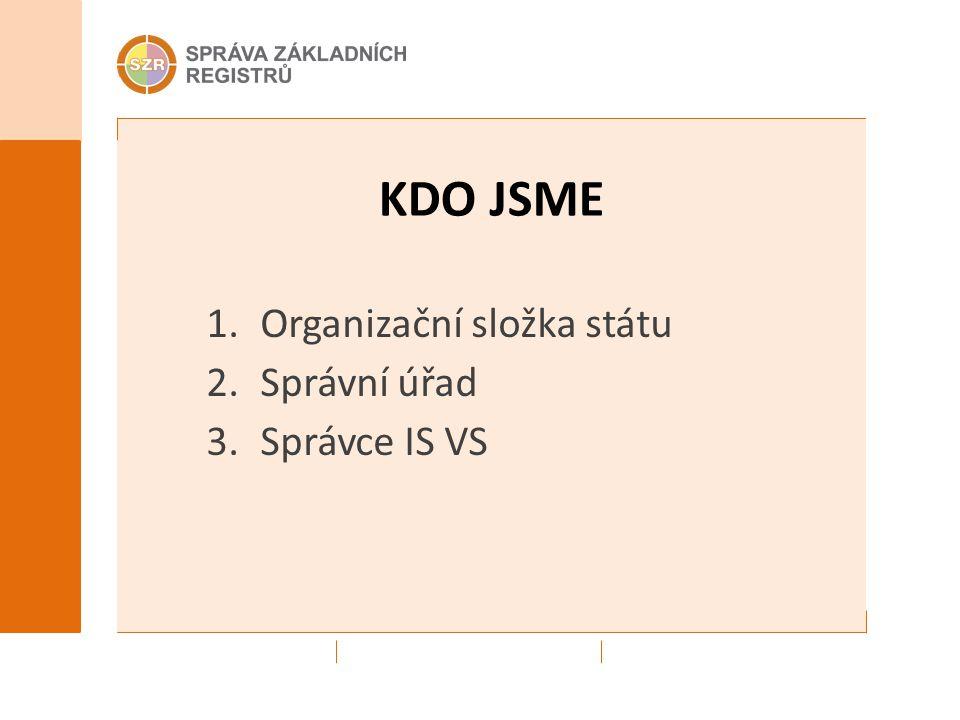 KDO JSME 1.Organizační složka státu 2.Správní úřad 3.Správce IS VS
