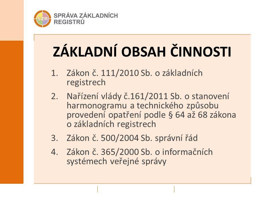 ZÁKLADNÍ OBSAH ČINNOSTI 1.Zákon č. 111/2010 Sb.