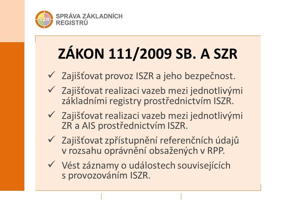 ZÁKON 111/2009 SB. A SZR Zajišťovat provoz ISZR a jeho bezpečnost. Zajišťovat realizaci vazeb mezi jednotlivými základními registry prostřednictvím IS