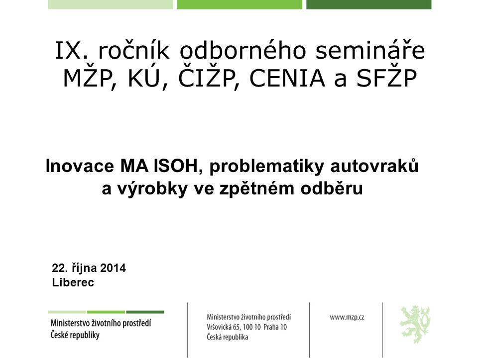 IX. ročník odborného semináře MŽP, KÚ, ČIŽP, CENIA a SFŽP Inovace MA ISOH, problematiky autovraků a výrobky ve zpětném odběru 22. října 2014 Liberec