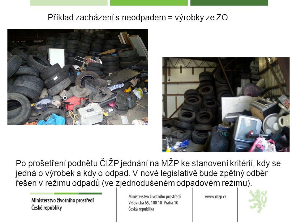 Příklad zacházení s neodpadem = výrobky ze ZO. Po prošetření podnětu ČIŽP jednání na MŽP ke stanovení kritérií, kdy se jedná o výrobek a kdy o odpad.