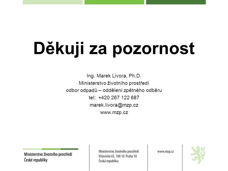 Děkuji za pozornost Ing. Marek Livora, Ph.D. Ministerstvo životního prostředí odbor odpadů – oddělení zpětného odběru tel: +420 267 122 687 marek.livo
