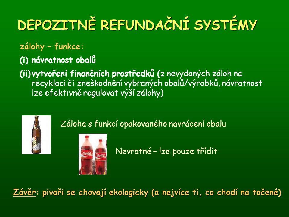 DEPOZITNĚ REFUNDAČNÍ SYSTÉMY zálohy – funkce: (i)návratnost obalů (ii)vytvoření finančních prostředků (z nevydaných záloh na recyklaci či zneškodnění