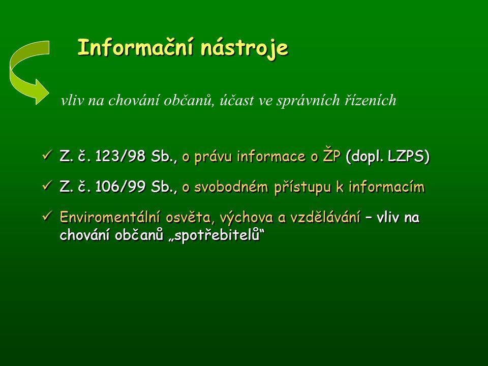 Informační nástroje Informační nástroje Z. č. 123/98 Sb., o právu informace o ŽP (dopl. LZPS) Z. č. 123/98 Sb., o právu informace o ŽP (dopl. LZPS) Z.