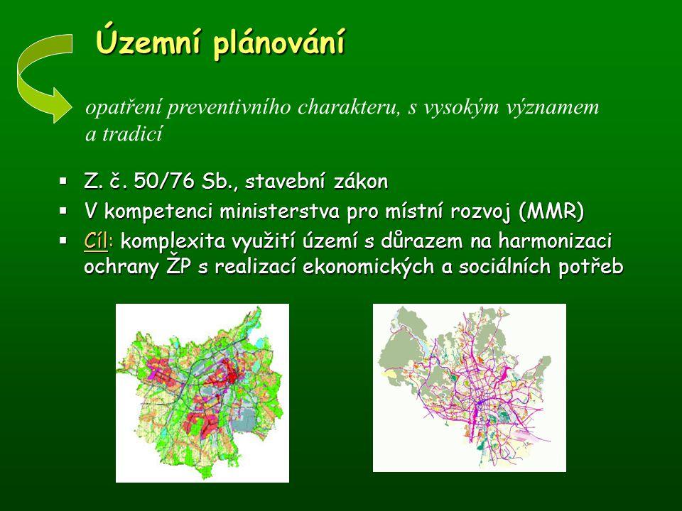 Územní plánování Územní plánování  Z. č. 50/76 Sb., stavební zákon  V kompetenci ministerstva pro místní rozvoj (MMR)  Cíl: komplexita využití územ