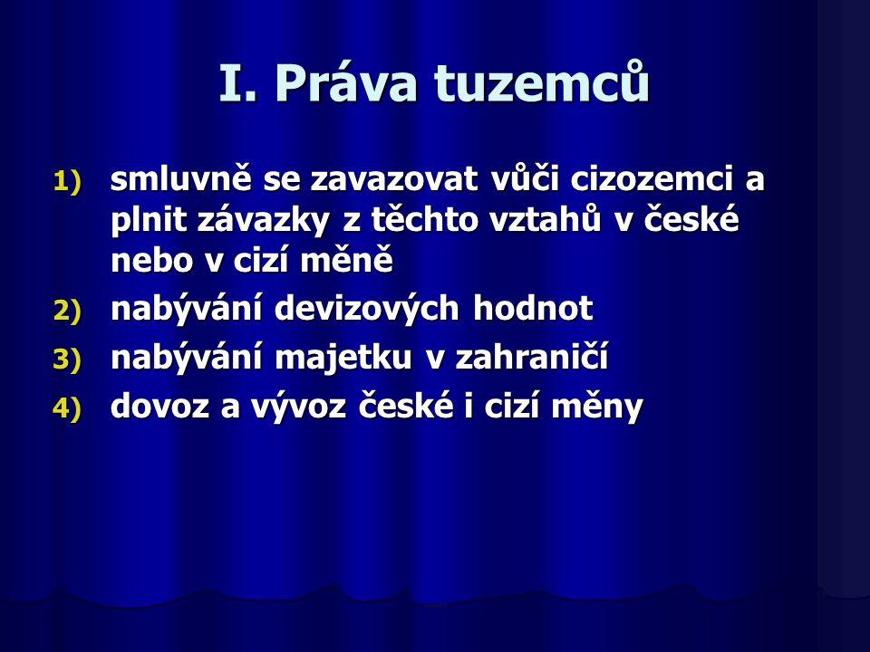 I. Práva tuzemců 1) smluvně se zavazovat vůči cizozemci a plnit závazky z těchto vztahů v české nebo v cizí měně 2) nabývání devizových hodnot 3) nabý