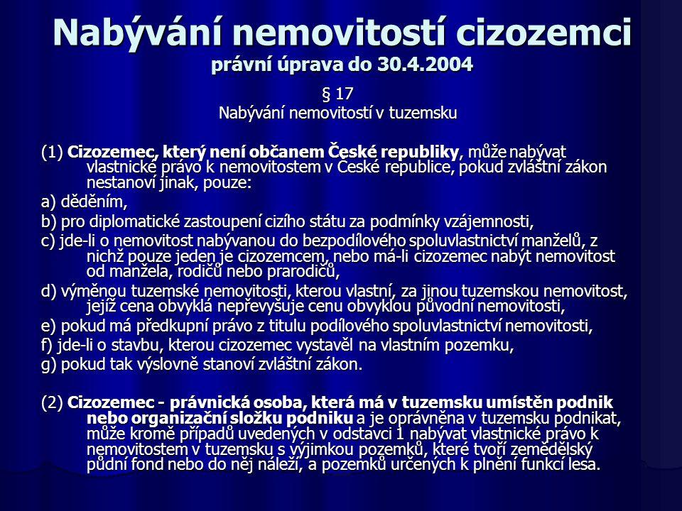 Nabývání nemovitostí cizozemci právní úprava do 30.4.2004 § 17 Nabývání nemovitostí v tuzemsku (1) Cizozemec, který není občanem České republiky, může