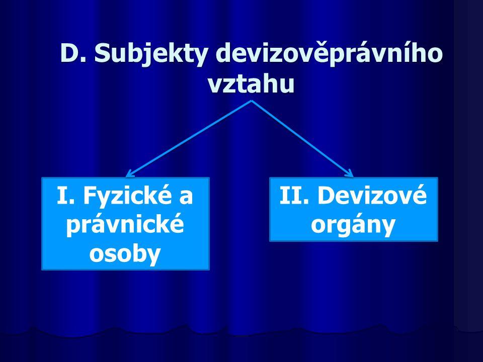 D. Subjekty devizověprávního vztahu I. Fyzické a právnické osoby II. Devizové orgány