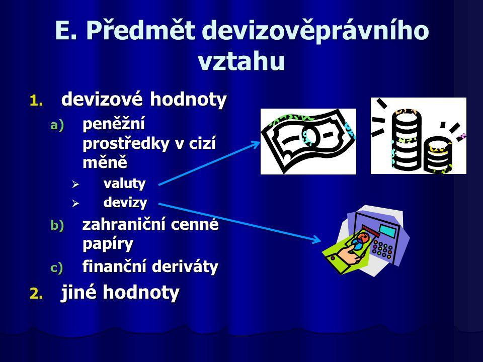E. Předmět devizověprávního vztahu 1. devizové hodnoty a) peněžní prostředky v cizí měně  valuty  devizy b) zahraniční cenné papíry c) finanční deri