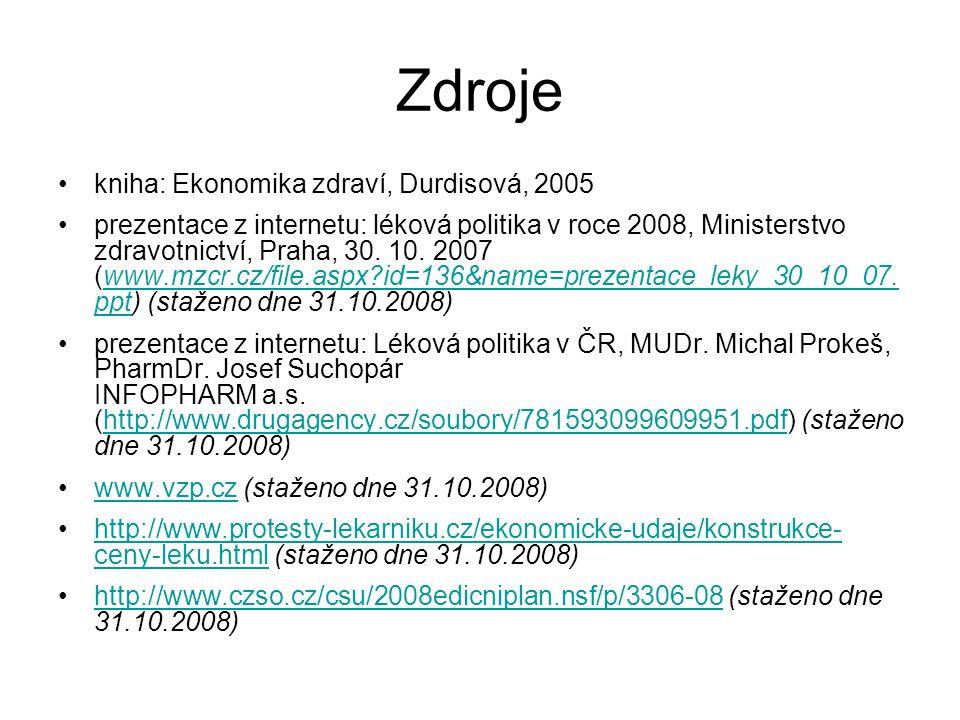 Zdroje kniha: Ekonomika zdraví, Durdisová, 2005 prezentace z internetu: léková politika v roce 2008, Ministerstvo zdravotnictví, Praha, 30. 10. 2007 (