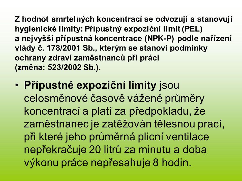 Z hodnot smrtelných koncentrací se odvozují a stanovují hygienické limity: Přípustný expoziční limit (PEL) a nejvyšší přípustná koncentrace (NPK-P) po