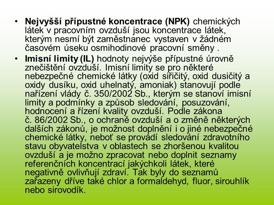 Nejvyšší přípustné koncentrace (NPK) chemických látek v pracovním ovzduší jsou koncentrace látek, kterým nesmí být zaměstnanec vystaven v žádném časov