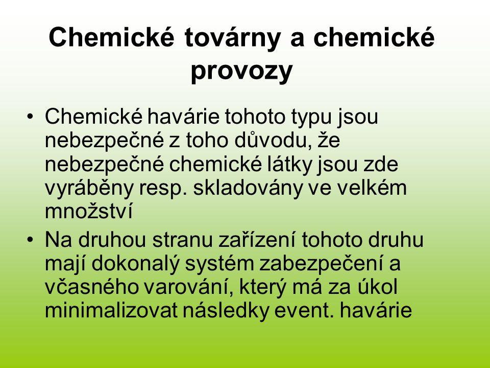 Chemické továrny a chemické provozy Chemické havárie tohoto typu jsou nebezpečné z toho důvodu, že nebezpečné chemické látky jsou zde vyráběny resp. s