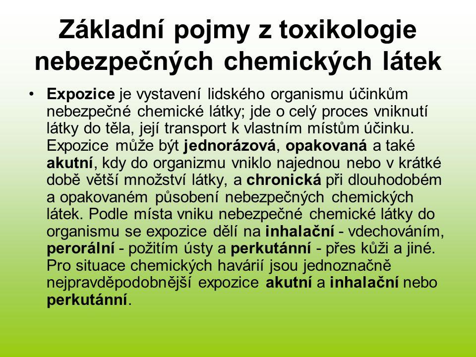 Další důležité pojmy Efektivní - účinná koncentrace nebezpečné chemické látky je koncentrace, která zpravidla při 10minutovém působení vyvolá s určitou pravděpodobností nebo u určitého procentuálního počtu osob objektivní účinek, na př.