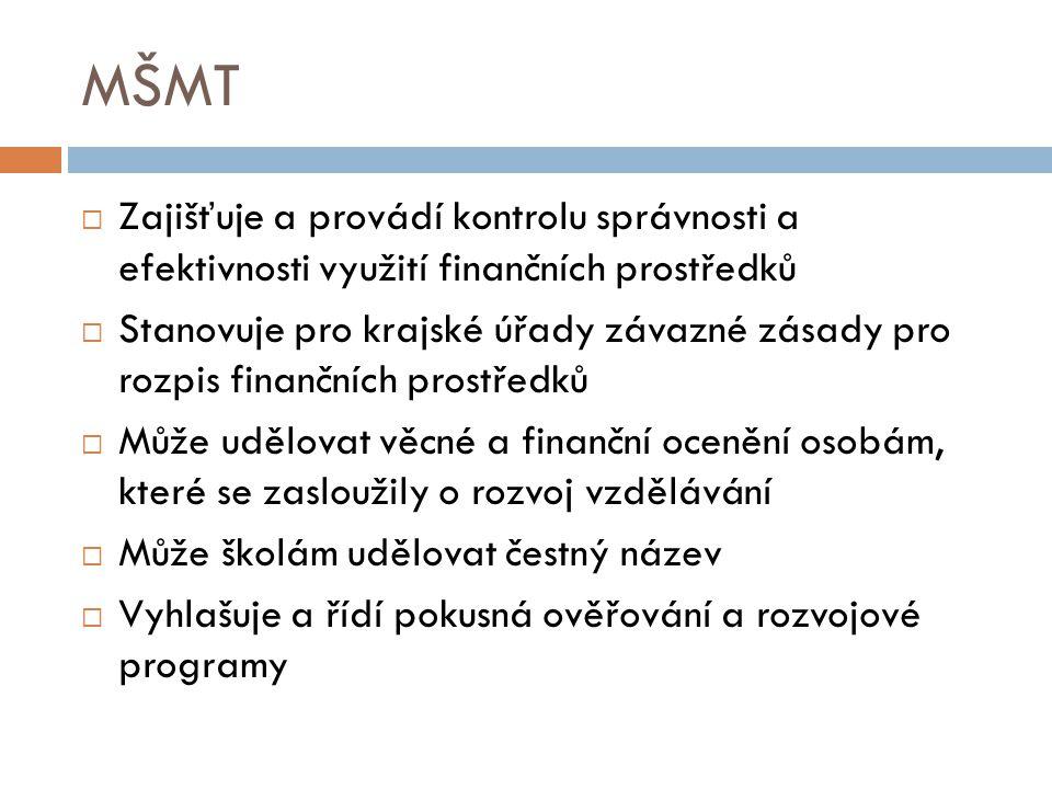 MŠMT  Zajišťuje a provádí kontrolu správnosti a efektivnosti využití finančních prostředků  Stanovuje pro krajské úřady závazné zásady pro rozpis finančních prostředků  Může udělovat věcné a finanční ocenění osobám, které se zasloužily o rozvoj vzdělávání  Může školám udělovat čestný název  Vyhlašuje a řídí pokusná ověřování a rozvojové programy