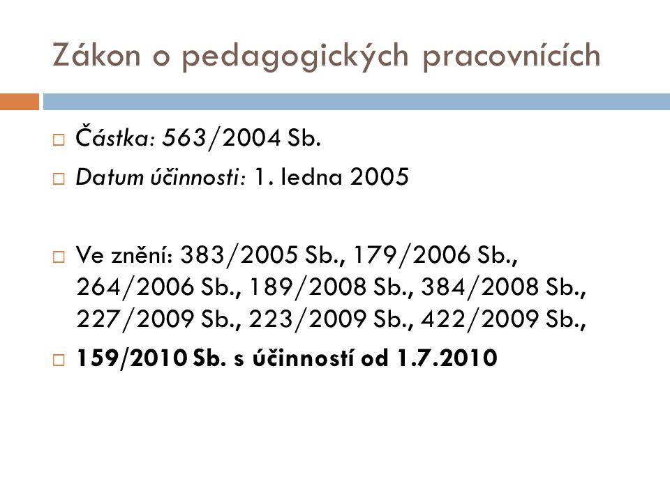 Zákon o pedagogických pracovnících  Částka: 563/2004 Sb.  Datum účinnosti: 1. ledna 2005  Ve znění: 383/2005 Sb., 179/2006 Sb., 264/2006 Sb., 189/2