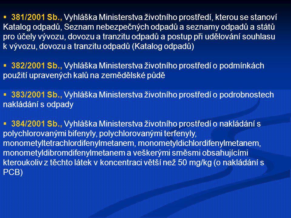  381/2001 Sb., Vyhláška Ministerstva životního prostředí, kterou se stanoví Katalog odpadů, Seznam nebezpečných odpadů a seznamy odpadů a států pro ú