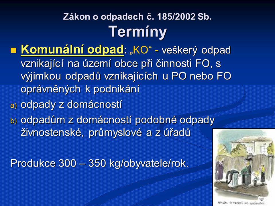 Zákon o odpadech č. 185/2002 Sb. Termíny Komunální odpad : - veškerý odpad vznikající na území obce při činnosti FO, s výjimkou odpadů vznikajících u