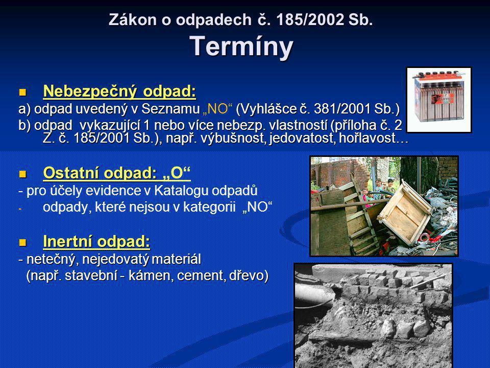 Zákon o odpadech č. 185/2002 Sb. Termíny Nebezpečný odpad: Nebezpečný odpad: a) odpad uvedený v Seznamu (Vyhlášce č. 381/2001 Sb.) a) odpad uvedený v