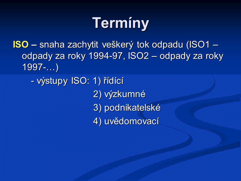 Termíny ISO – snaha zachytit veškerý tok odpadu (ISO1 – odpady za roky 1994-97, ISO2 – odpady za roky 1997-…) - výstupy ISO: 1) řídící - výstupy ISO: