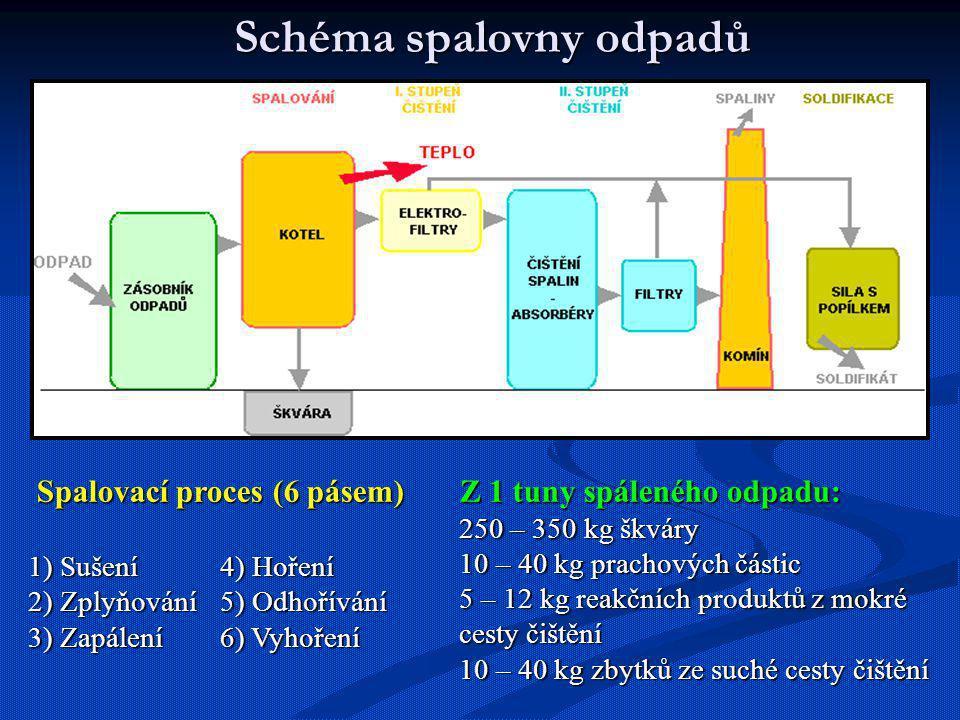 Schéma spalovny odpadů Spalovací proces (6 pásem) Spalovací proces (6 pásem) 1) Sušení 4) Hoření 2) Zplyňování5) Odhořívání 3) Zapálení6) Vyhoření Z 1