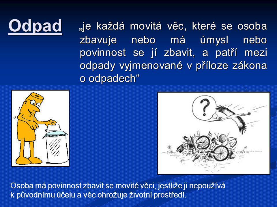 """Odpad """" je každá movitá věc, které se osoba zbavuje nebo má úmysl nebo povinnost se jí zbavit, a patří mezi odpady vyjmenované v příloze zákona o odpa"""