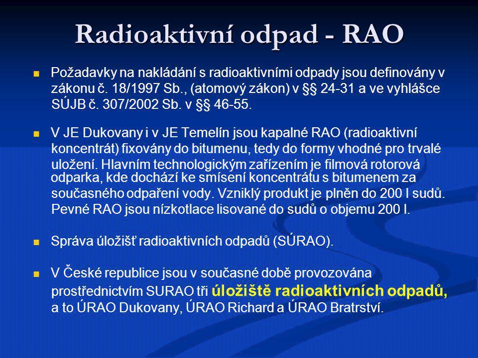 Radioaktivní odpad - RAO Požadavky na nakládání s radioaktivními odpady jsou definovány v zákonu č. 18/1997 Sb., (atomový zákon) v §§ 24-31 a ve vyhlá