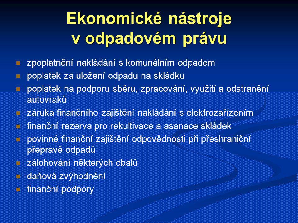 Ekonomické nástroje v odpadovém právu zpoplatnění nakládání s komunálním odpadem poplatek za uložení odpadu na skládku poplatek na podporu sběru, zpra