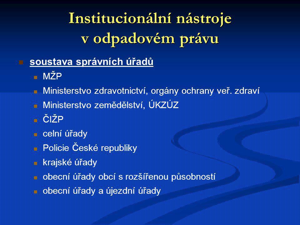 Institucionální nástroje v odpadovém právu soustava správních úřadů MŽP Ministerstvo zdravotnictví, orgány ochrany veř. zdraví Ministerstvo zemědělstv