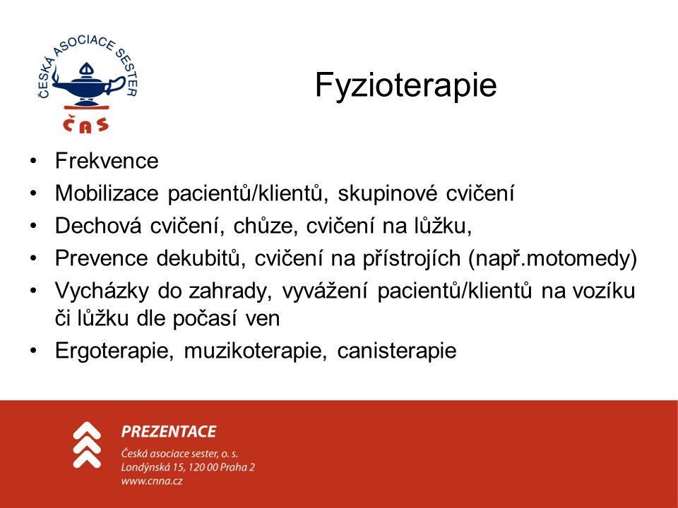 Fyzioterapie Frekvence Mobilizace pacientů/klientů, skupinové cvičení Dechová cvičení, chůze, cvičení na lůžku, Prevence dekubitů, cvičení na přístroj