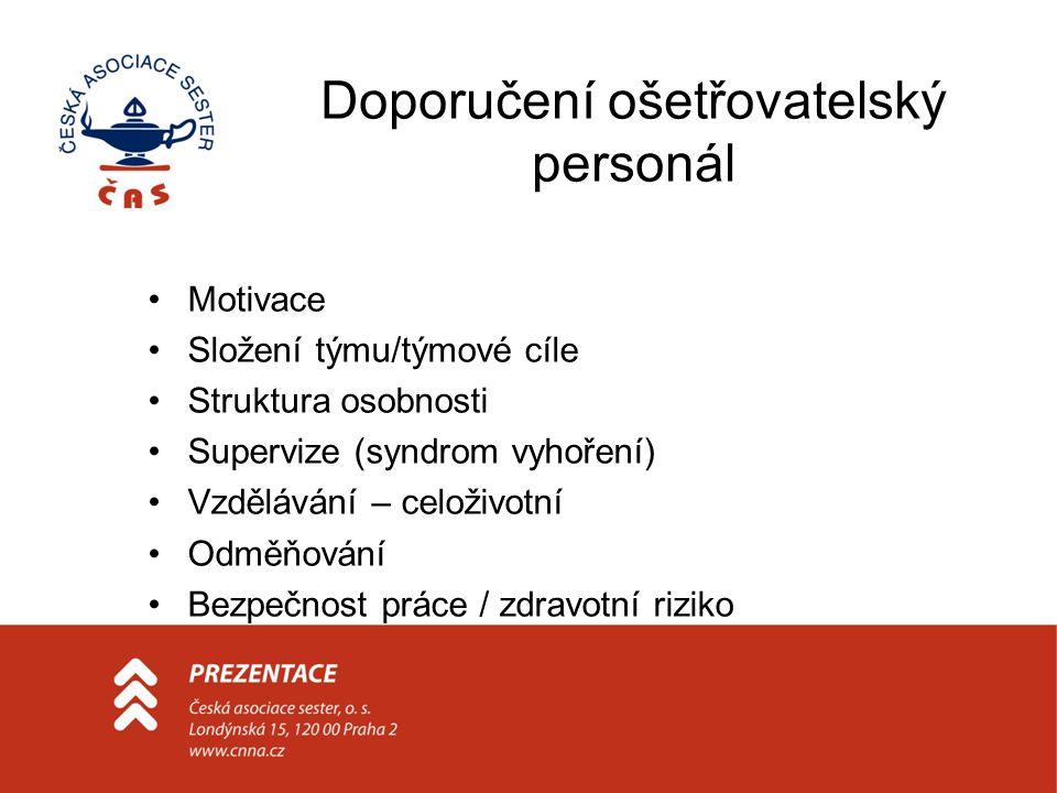 Doporučení ošetřovatelský personál Motivace Složení týmu/týmové cíle Struktura osobnosti Supervize (syndrom vyhoření) Vzdělávání – celoživotní Odměňov