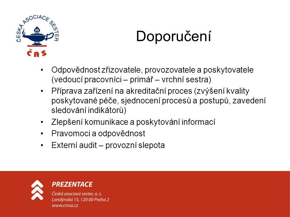 Doporučení Odpovědnost zřizovatele, provozovatele a poskytovatele (vedoucí pracovníci – primář – vrchní sestra) Příprava zařízení na akreditační proce